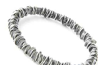 fine wraparound bangle, oxidised silver