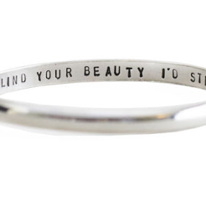 d shape polished silver message bangle