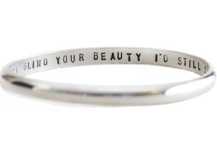 Colette Hazelwood Contemporary Jewellery d shape polished silver message bangle