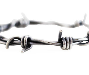 medium oxidised silver barb wire bracelet