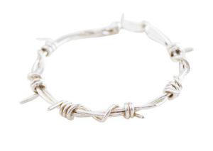 silver barb wire bracelet