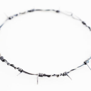 oxidised silver small barb wire necklace