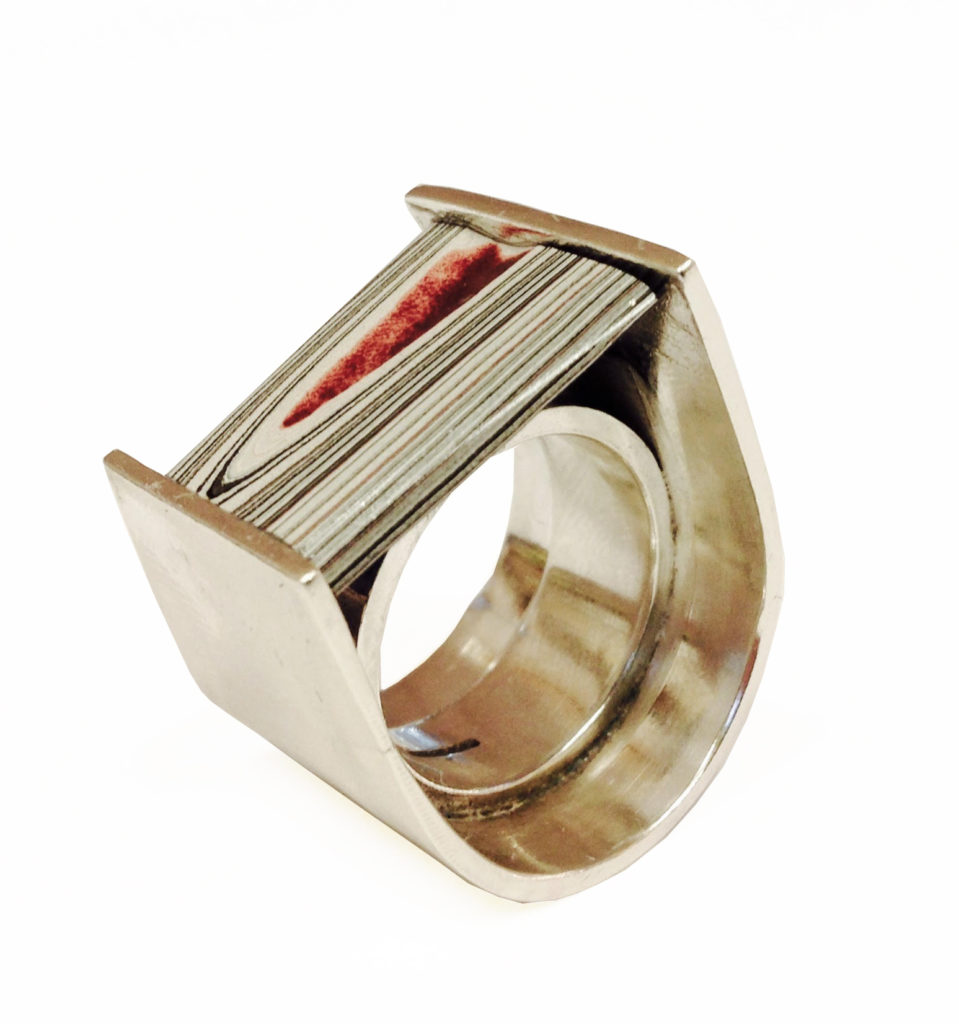 Colette Hazelwood Contemporary Jewellery Silver & fordite ring