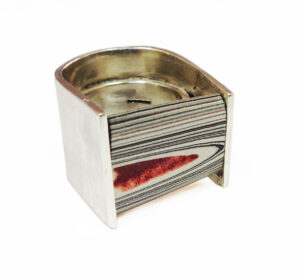fordite ring by Colette Hazelwood Contemporary Jewellery.