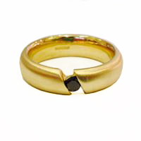 gold and black diamond ring matt by Colette Hazelwood Contemporary Jewellery.