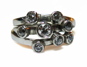 platinum and diamonds ring remake kathryn by Colette Hazelwood Contemporary Jewellery.
