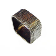 square bark hammered ring2