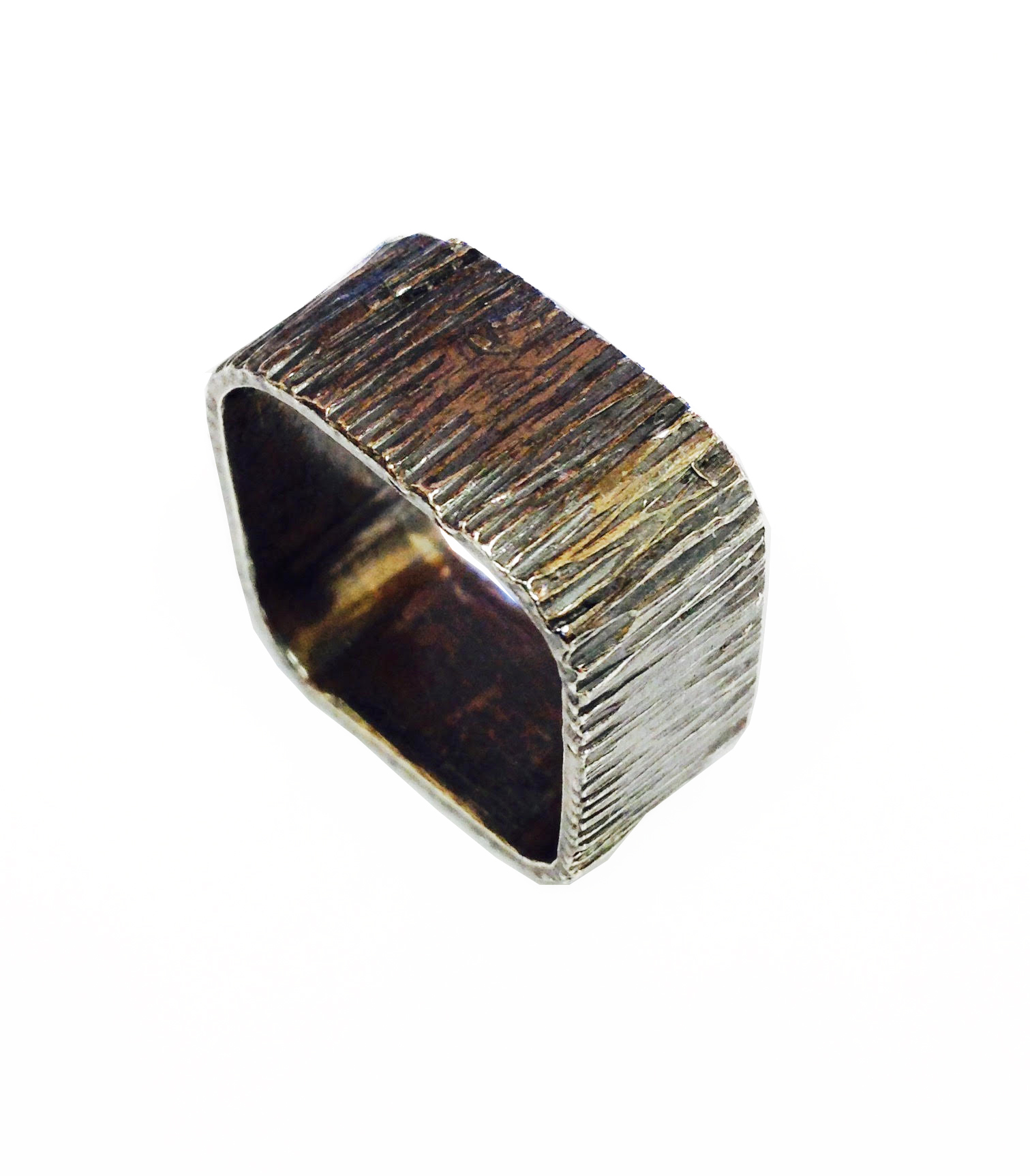 oxidised square bark hammered ring by Colette Hazelwood Contemporary Jewellery