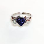 Colette Hazelwood Contemporary Jewellery Trillion tanzanite and Diamonds Ring 18ct White Gold