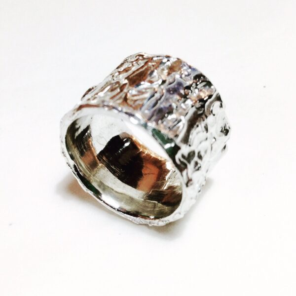 textured silver ring