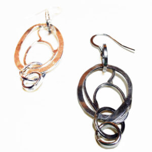 silver organic links earrings