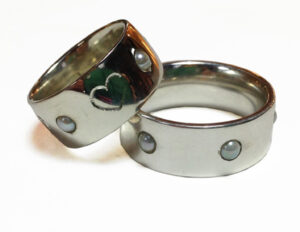 Pearl,-Silver-&-White-Gold-Anniversary-Rings by Colette Hazelwood Contemporary Jewellery.
