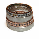 Colette Hazelwood Contemporary Jewellery Red-Gold,-Palladium,-Black-Diamionds,-Smokey-Quartz,-Citrine-and-Silver-Rings