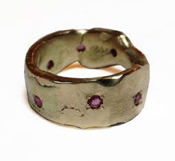 recycled gold and rubies ring by Colette Hazelwood Contemporary Jewellery.