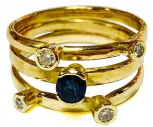 Colette Hazelwood contemporary jewellery, 18ct gold with sapphires and diamond commission ring