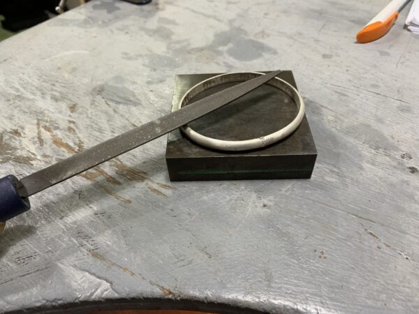 Colette Hazelwood Jewellery - product in process - Message Bangle