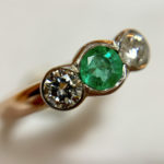 Ring remake using pre loved emeralds and diamonds. Price guide £340. 1 of 1.