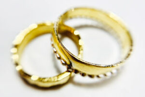 Colette Hazelwood contemporary jewellery, gold rings made from 99.9% coin
