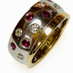 Colette Haelwoodm Contemporary Jeweller9ct white gold rubies diamonds ring