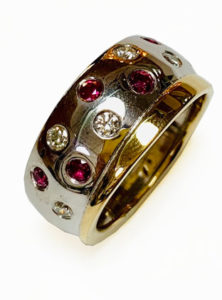 Colette Hazelwood contemporary jewellery, ruby and diamonds ring remodel