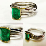 Emerald and white & yellow gold ring