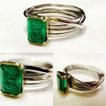 Colette Hazelwood Contemporary Jewellery Emerald and white & yellow gold ring