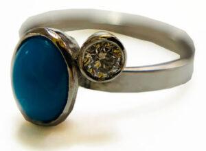 Colette Hazelwood Contemporary Jewellery. Platinum,-Diamond-&-Turquiose-Ring1
