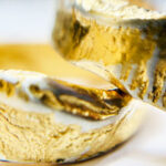 reticulated and gold plated silver wedding rings by Colette Hazelwood Contemporary Jewellery