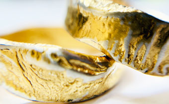 reticualted and gold plated silver rings by Colette Hazelwood Contemporary Jewellery