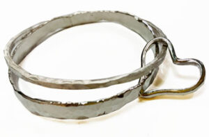 Double silver recycled bangles