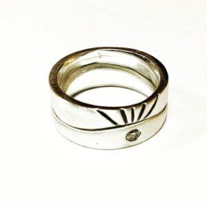Colette Hazelwood Contemporary Jewellery. sunrise silver diamond ring