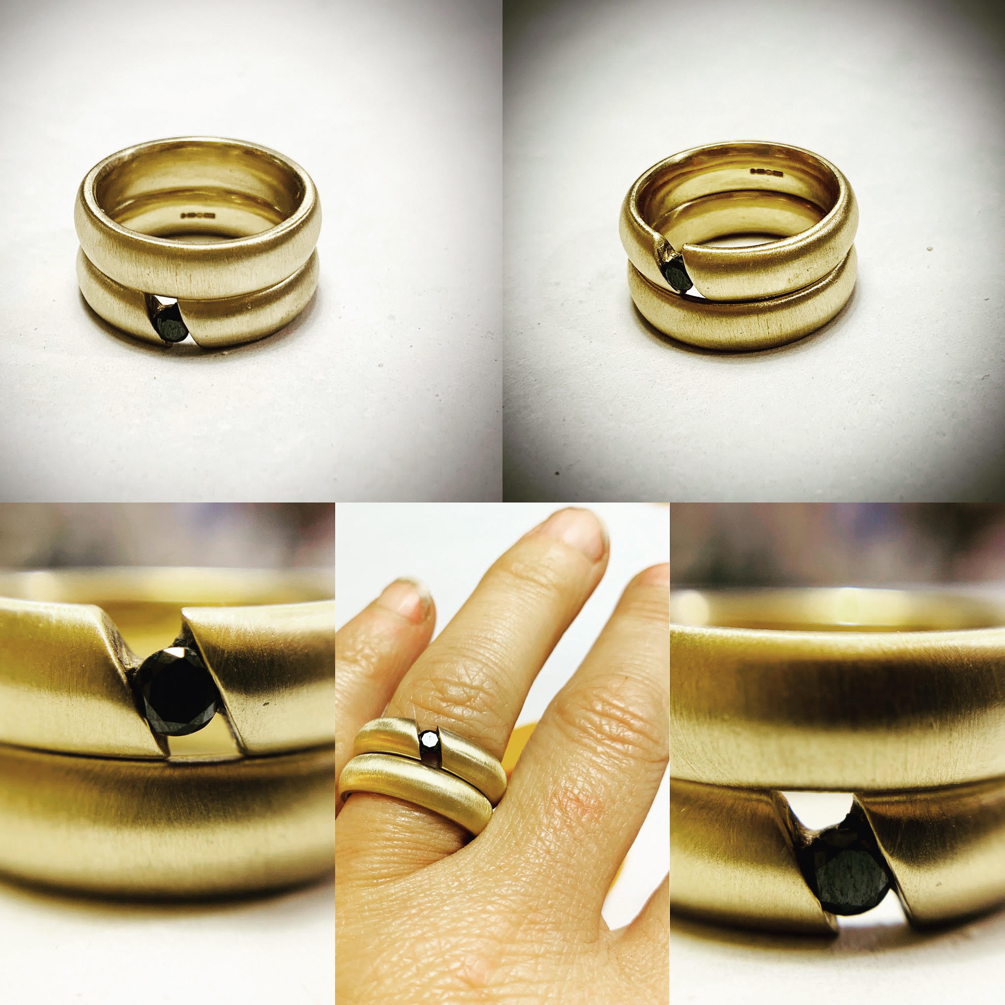 9ct yellow gold wedding and engagement ring with black diamond