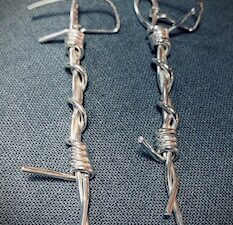 barb wire drop earrings