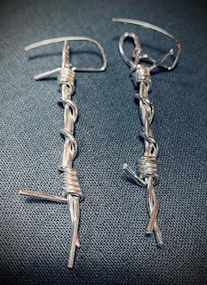 barb wire drop earrings