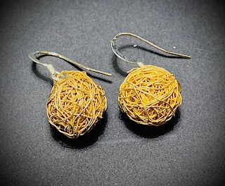Gold Plated Wrap Ball Earrings