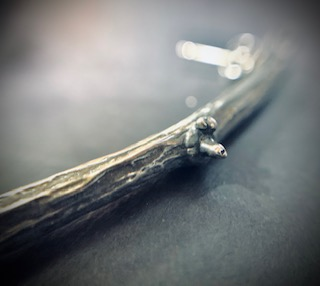 silver twig earrings