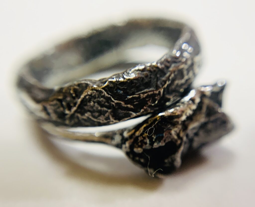 Oxidsed silver ring by Colette Hazelwood Contemporary Jewellery
