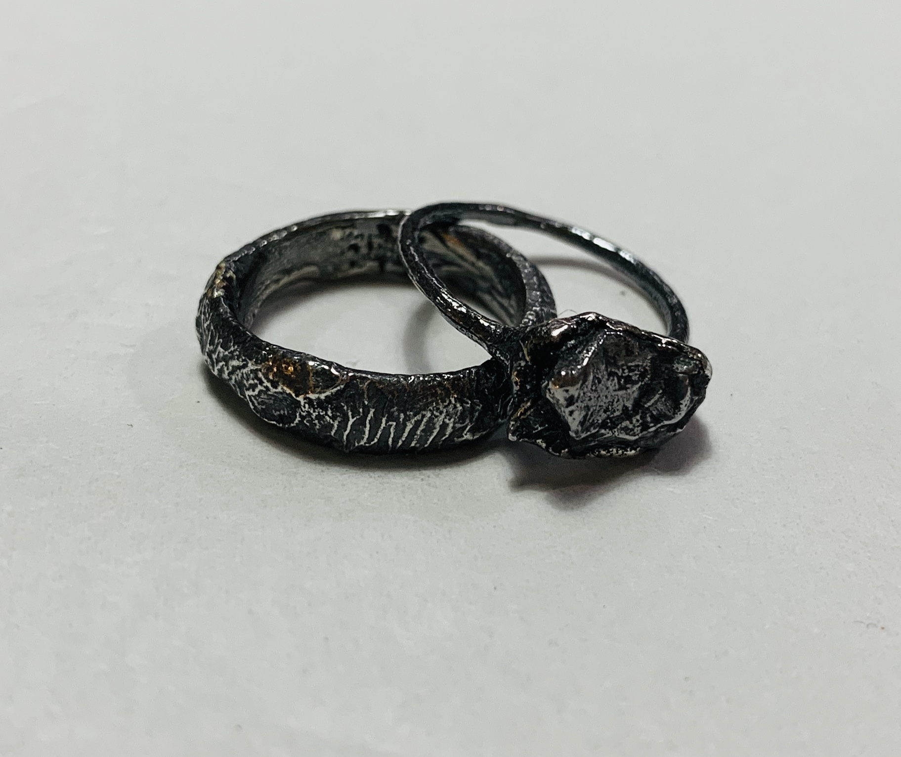 Oxidised Silver Reticulated Wedding Ring