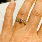 Ruby, Diamonds, Gold ring renmake by Colette Hazelwood