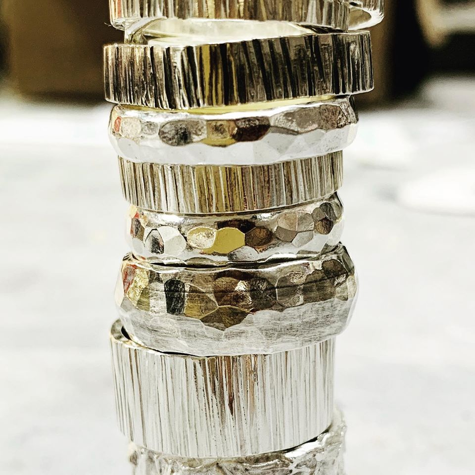 stacked hammered rings