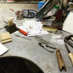 at the bench Colette Hazelwood jewellery work bench