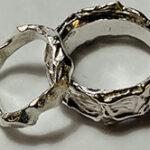 silver organic wedding rings