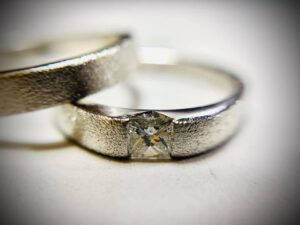 9ct white gold with princess cut diamond wedding and engagement ring.