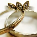 9ct white and yellow gold wedding and engagement rings. 1 of 6
