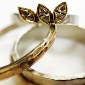 diamonds and gold wedding and engagement rings