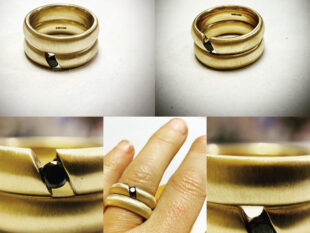 9ct yellow gold and black diamond wedding and engagement rings