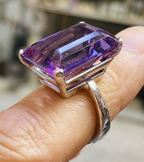 amethyst, white gold and silver ring