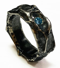 oxidised organic silver ring with blue topaz2