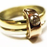 yellow, white and red gold with diamond recycled ring