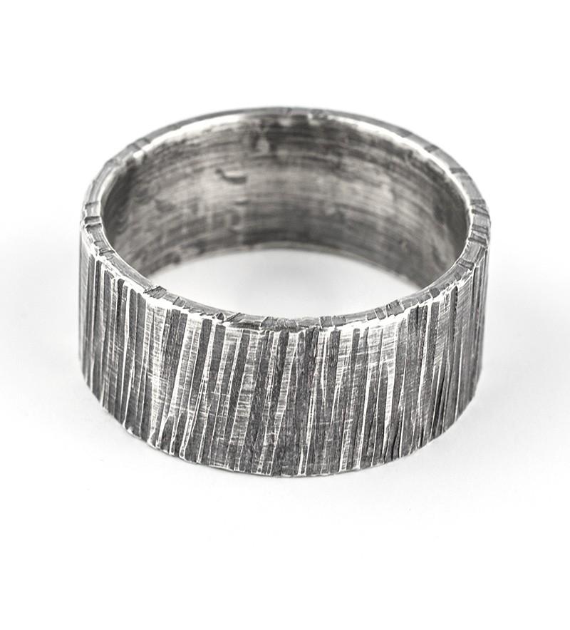 10mm bark oxidised ring